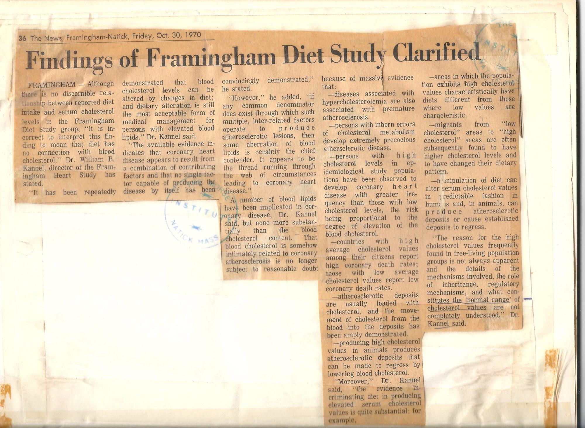 Framingham article on the Framingham study