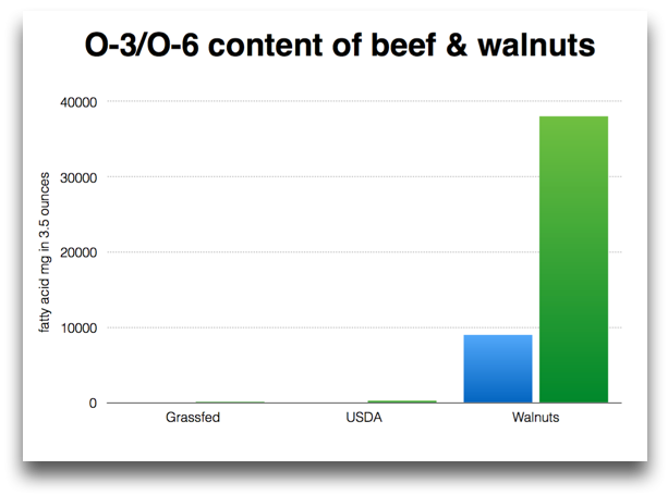 FA content of beef and walnuts same scale
