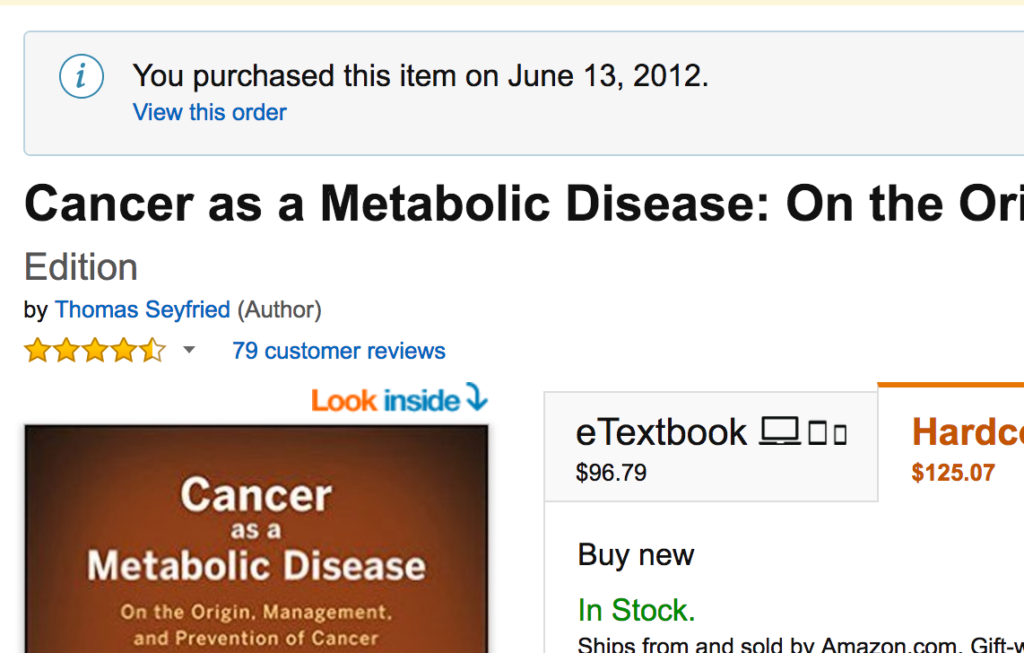 Purchase of Cancer as a Metabolic Disease